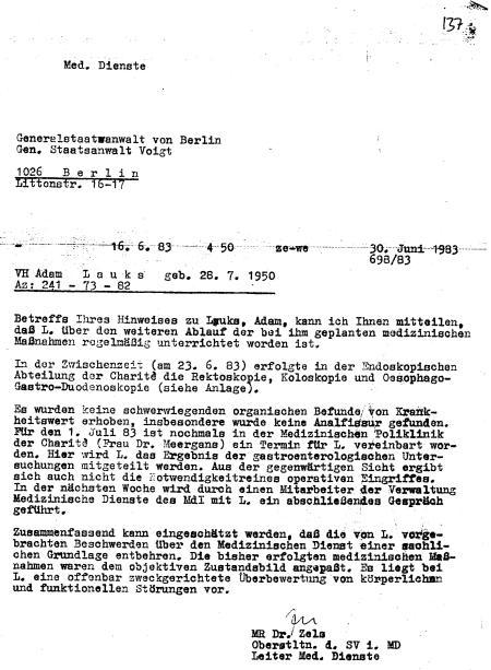 """"""" insbesondere wurde Anakfissur gefunden"""" - Befund des Chefarztes der Chirurgi Berlin Buch niedergeschlagen !?"""
