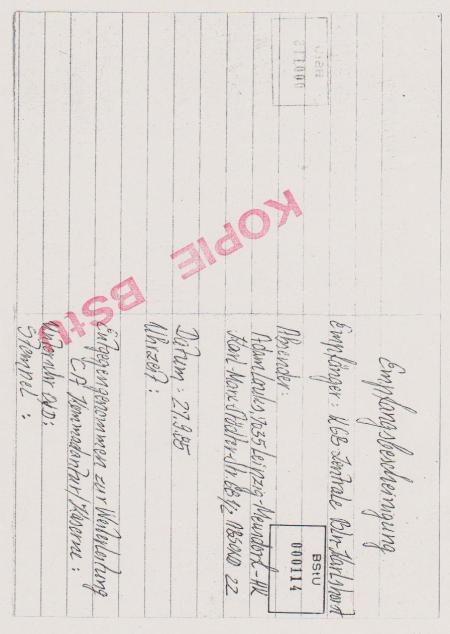 Rückschein war der Bestandteil des Briefes an KGB