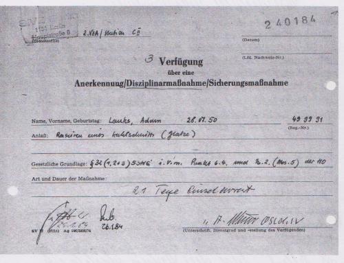 Meine erste Arreststrafe in Berlin Rummelsburg. 21 Tage und Nächte