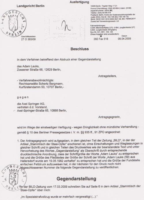§ 10 des Berliner Pressegesetzes i.V. m. §§935 ff 91 ZPO