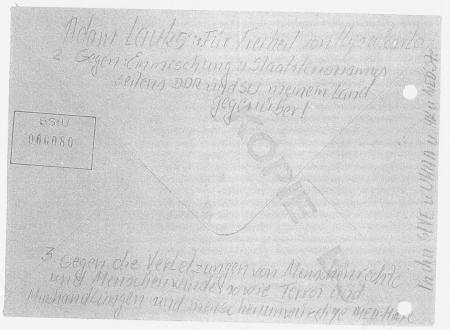 Rückseite des Briefes- Absender aus dem Jenseits