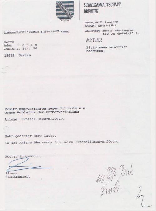 Staatsanwaltschaft Dresden stellte ein und vernichtete die Akte !??