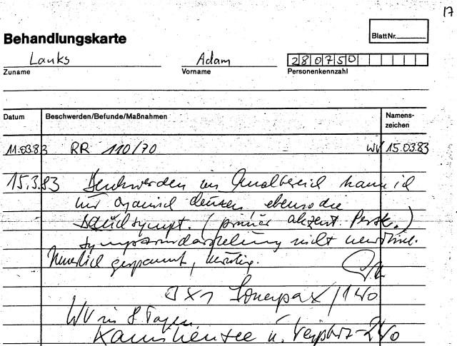 Zersetzung von Adam Lauks 1983.03.15.