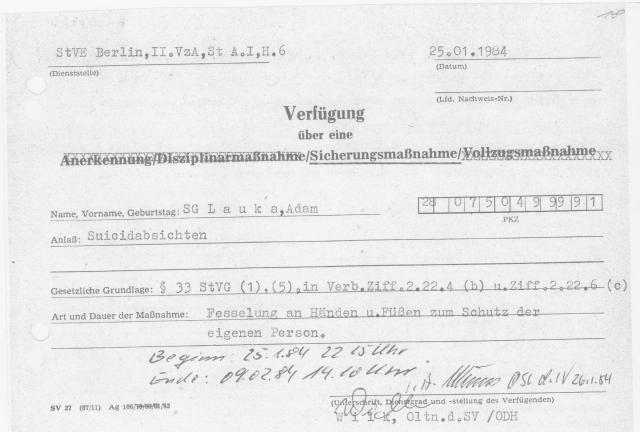 3 Tage und drei Nächte nach ärztlicher Genehmigung laut StGB DDR/BRDsind erlaubt