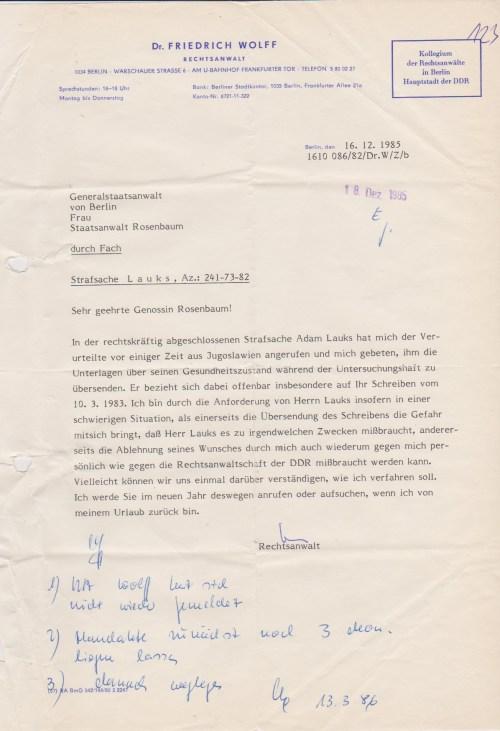 Was an dieser Stelle der Gerichtsakte unter laufenden Nr. 123 dieses Schreiben zu suchen hat wird nur Experten zu erschließen sein. Ich war 29.10.1985 aus der DDR in die Tschechei entlassen...