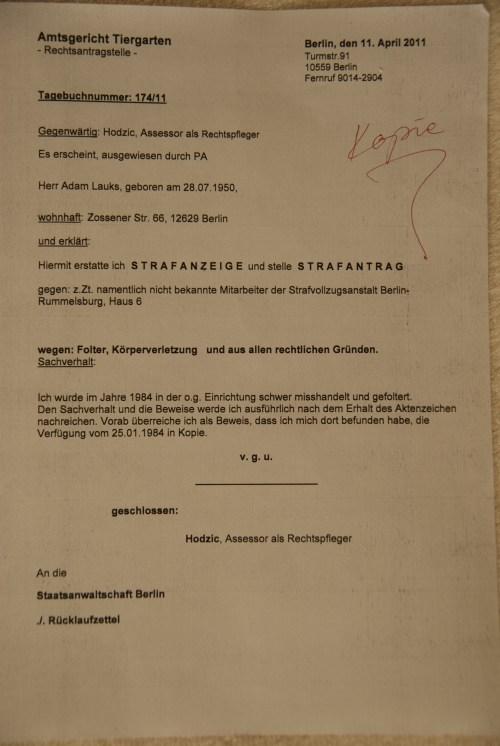 gegen die Bedienstete der StVE Berlin Rummelsburg und Dr.Zels - IM NAGEL