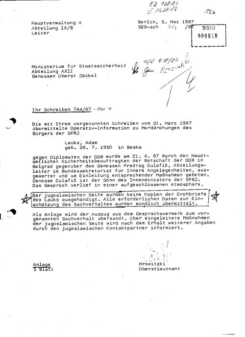 529-sch-786/87 Terrorentwardung der Auslandsaufklärung an XXII Terorabwehr des MfS Genossen Oberst Jäckel kam am 21.4.87 - zwei Monate nach dem Eintreffen der MLADINA !?? Reaktionsschneölligkeit ist anders! Genosse General Oberst Grossmann !