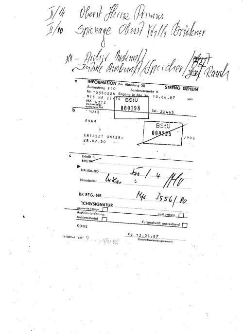 Information der Abteilung XII  STRENG GEHEIM