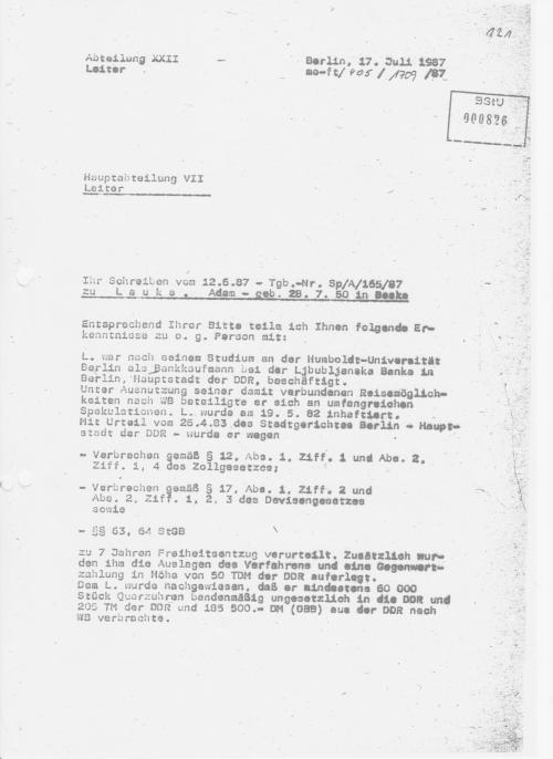 Oberst Franz -Leiter der Terrorabwehr ist von der schnellen Truppe: genau einen Monat und 5 Tage braucht er das obige Schreiben (eines ) Generalmajor Büchners zu