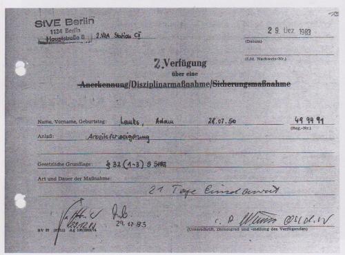 29.12.1983 Arbeutsverweigerung - 21 Tage Arrest
