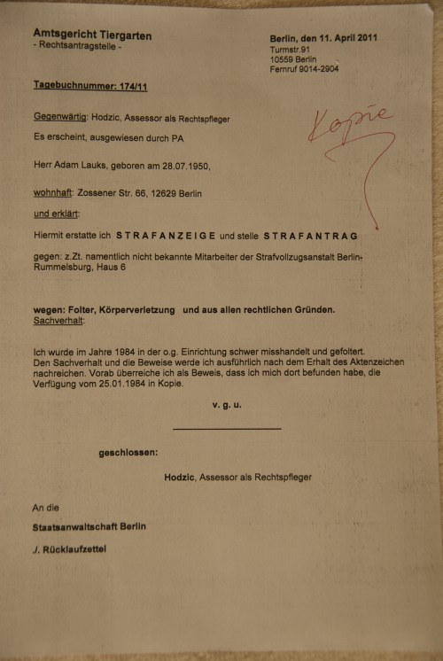 .. gegen die Bediensteten des Haus 6  -der StvE Berlin Rummelsburg