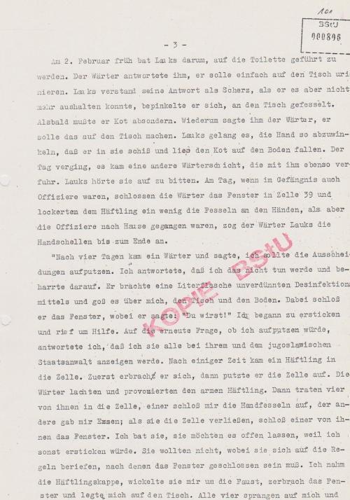 Am ersten Februar ging die Folter los ... auf Adamsbett festgeschnallt
