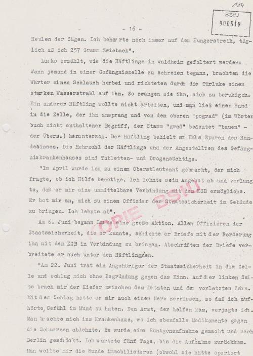 am 29.3.1985 statt nach Jugoslawien verschleppte man mich nach Waldheim
