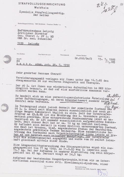 Spezielle Strafvollzugsabteilung Waldheim Der Leiter ChA MR med G.Stöber