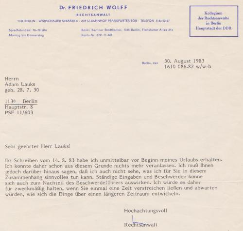 Mein und Honeckers Verteidiger Dr Friedrich Wolg IM JURA -Lügner