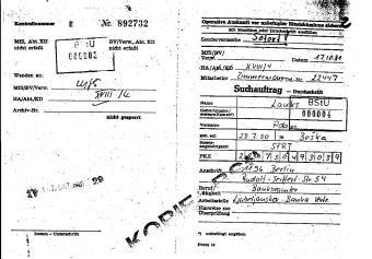 Am 17.10. 1981 durch den STASI Mann 29 ausgestelltOV MERKUR ist erst am 30.9.81 eröffnet worden.