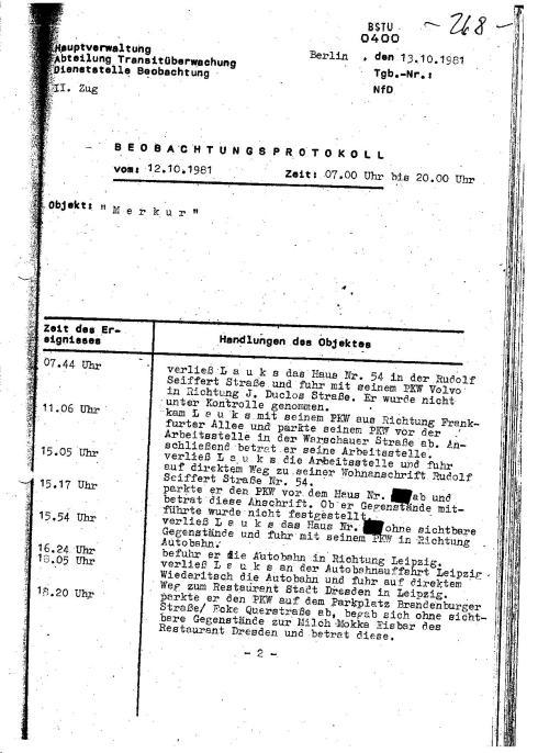 BEOBACHTUNGSPROTOKOLL 12.10.1981  Zeit: 07 Uhr bis 20.00 Uhr