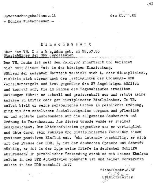 Abgangszeugnis aus U-Haft Königswusterhausen