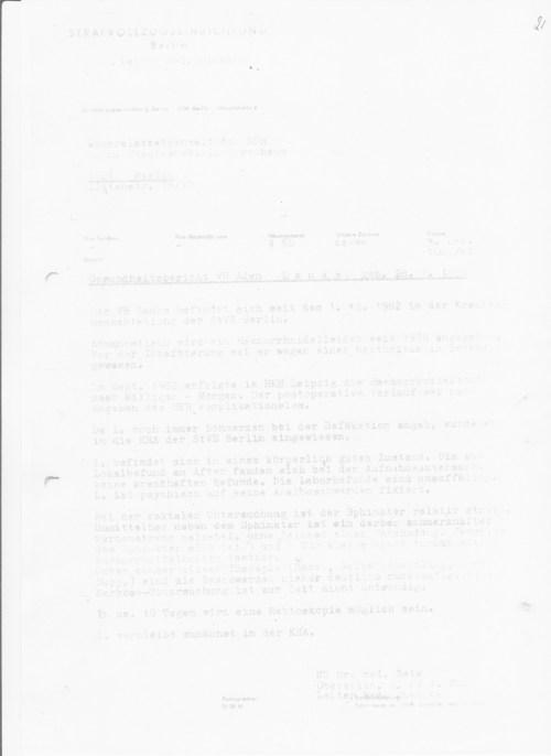 Am 1.Dezember komme ich in die Fänge des MfS Arztes Oberstleutnant DR Zels im Haus 8 Berlin Rukmmelsburg... der meine Gesundheit unwiderbringlich zerstört und geschädigt hatte, planmässig und wissentlich die Befehle des mfs ausführend.