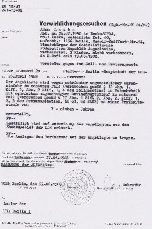 STAZIS ließen das Ersuchen verschwinden - Nach Gewaltnotoperation am 27.7.1983 folgte die Folter