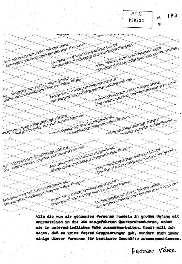 Alle die von mir genannten Personen handeln in großem Umfang mit ungesetzlich in die DDR eingeführten Quarzarmbanduhren, wobei sie in unterschiedlichem Maße zusammenarbeiten. Damit will ich sagen, daß es keine festen Gruppierungen gab, sondern sich immer einige dieser Personen für bestimmte Geschäfte zusammenschlossen.