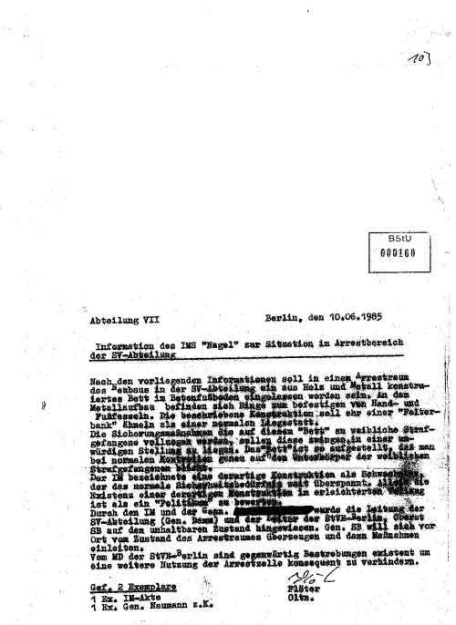 Vorveröffentlichung aus dem Forschungsprojekt:  Einfluss des MfS auf die Ärzte der DDR IMS