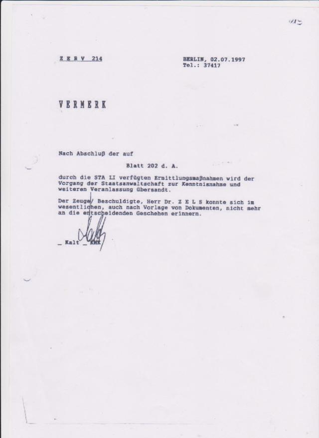 Vernehmung  des Dr. Zels -IM NAGEL 2.7.1997 durch ZERV 214 003