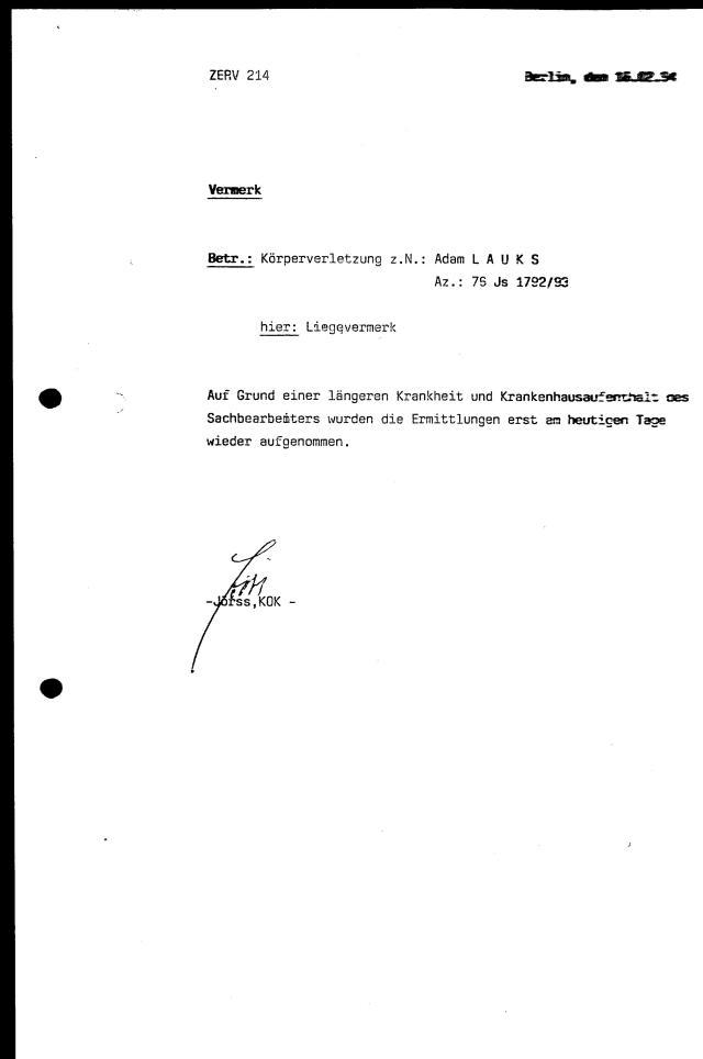 30 Js 1792 93 Ermittlungsverfahren der Staatsanwaltschaft II Bln 030