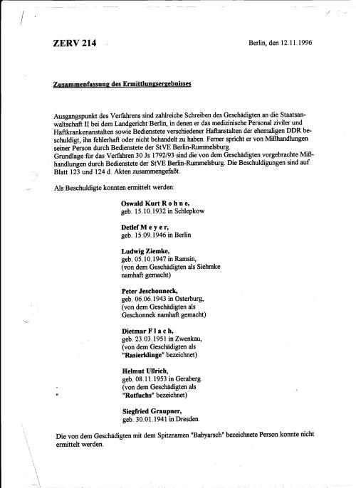 Zusammenfassung des Ermittlungsergebnisse vor dem Abschluss der Ermittlungen