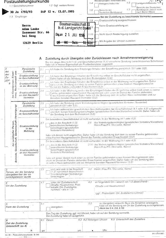 Ermittlungsverfahren 30 Js 1792 93 003