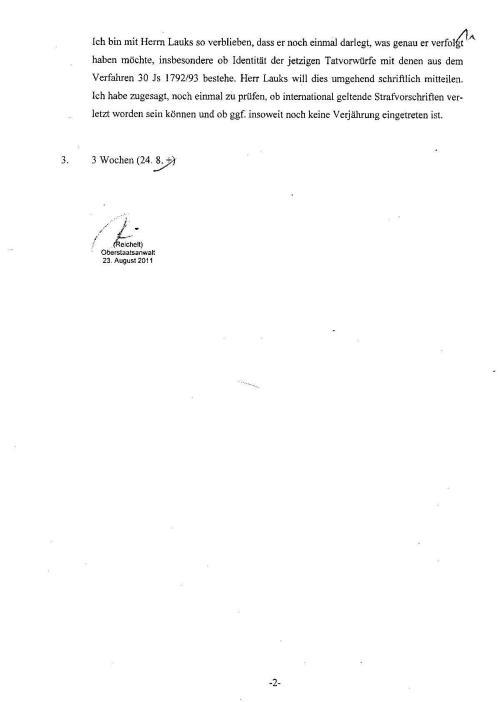 Ermittlungsverfahren auf Strafantrag wg. Folter 272 Js 2215 -11 017