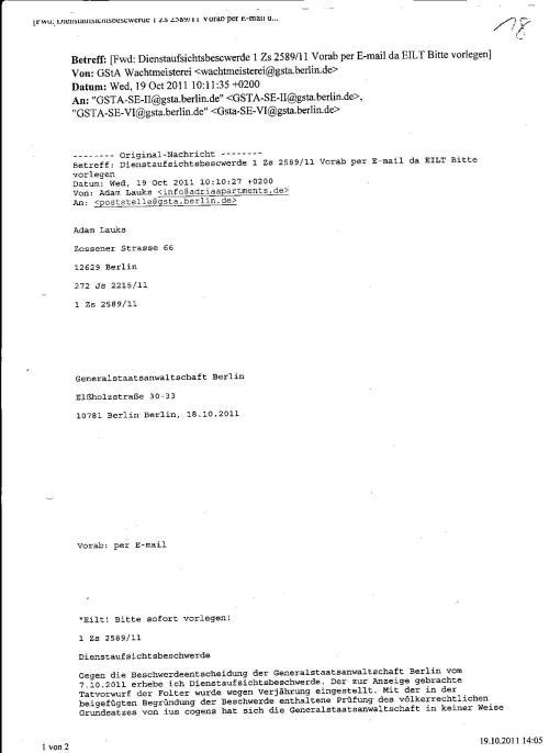 Ermittlungsverfahren auf Strafantrag wg. Folter 272 Js 2215 -11 024
