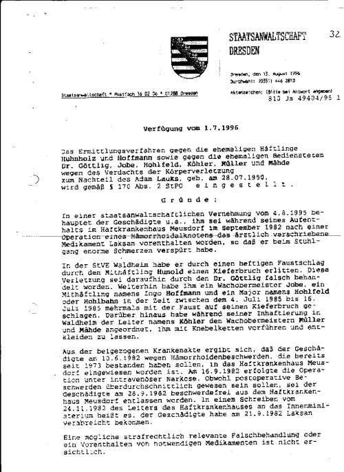 Ermittlungsverfahren auf Strafantrag wg. Folter 272 Js 2215 -11 037