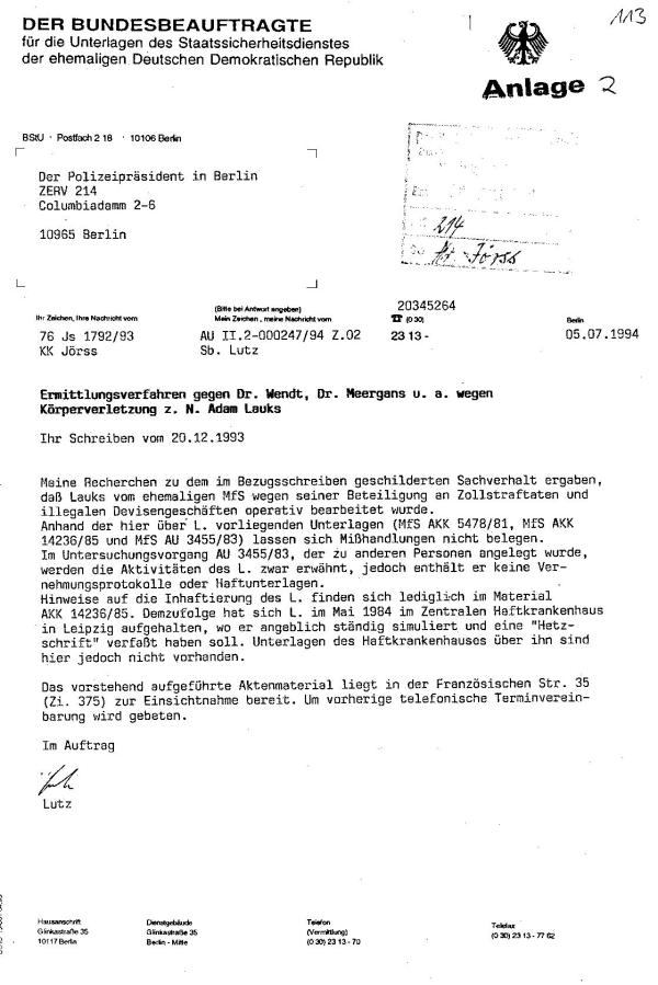 Gauck(Behörde) log in der augfedrängten Mitteilung