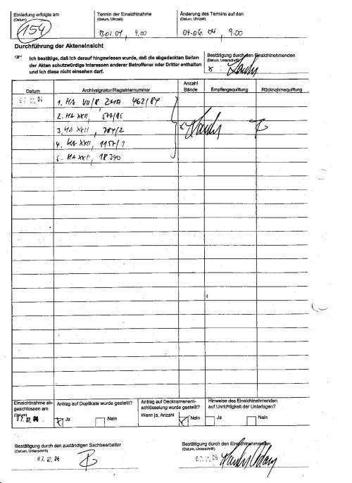 Bestätigung der vorhandener Akte des BV 001488/92