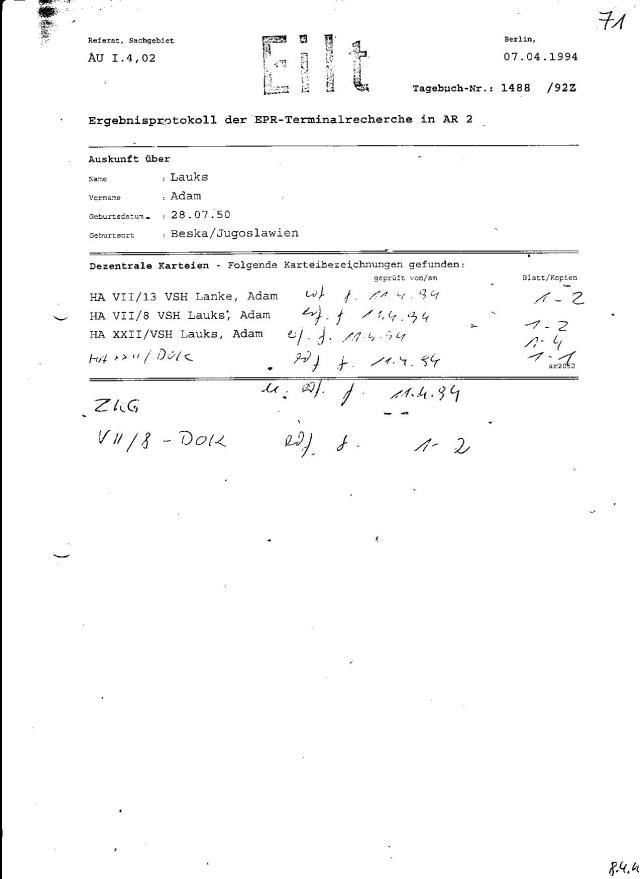 WAS ist passiert in der Gauck Behörde 11.4.94 !!! Auf wessen Weisung gingen die Beweise für den Unterkieferbruch wie  ersucht an den Polizeipräsidenten in Berlin ???