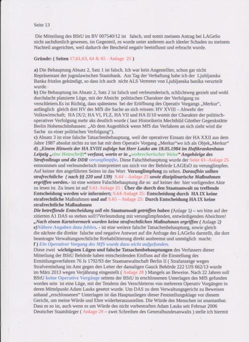 Stellungnahme des ungesühnten Folteropfers Adam Lauks auf die Klageerwiderung des BStU S.12