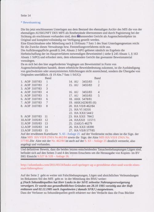 Stellungnahme des ungesühnten Folteropfers Adam Lauks auf die Klageerwiderung des BStU S.14