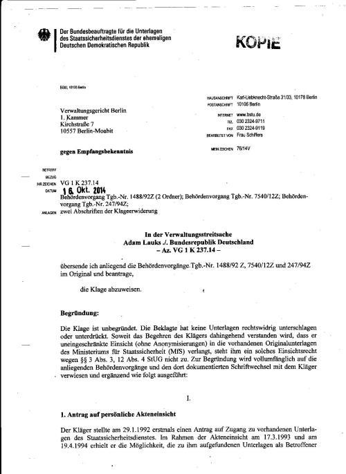 BStU Klageerwiederung In der Verwaltungsstreitsache Adam Lauks ./. Bundesrepublik Deutschland VG 1 K 237.14