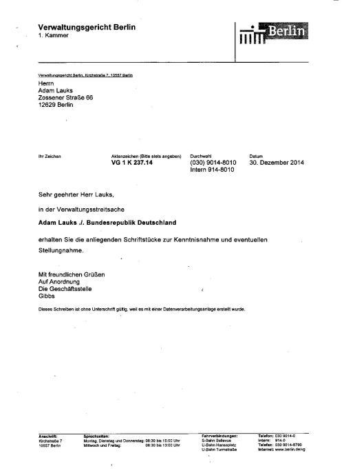 Am 7.1.14 kam die Antwort der BStU Behörde auf meine Stellungnahme auf die Klageerwiderung Der BStU Behörde