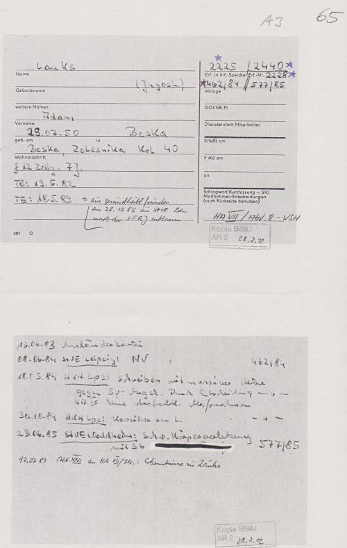 Karteikarte mit diversen Signaturen erhält der Sachbearbeiter von der Abteilung AR 2 am Anfang jeder Recherche.