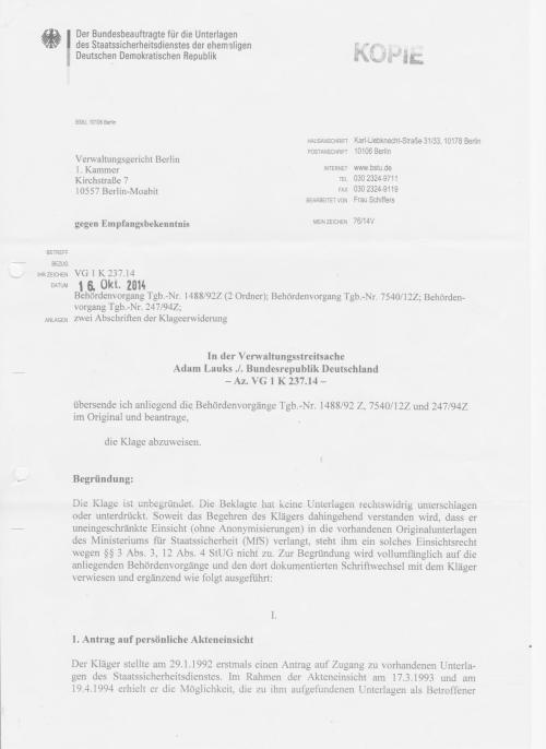 Klageerwiderung - Klageabweisung durch die Juristin von Stockhausen - BStU 16.10.2014 - 30 Jahre nach der Folter in Berlin Rummelsburg