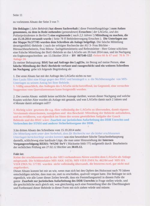 Stellungnahme des ungesühnten Folteropfers der STAZIS Adam Lauks auf die Klageerwiderung des BStU S.1