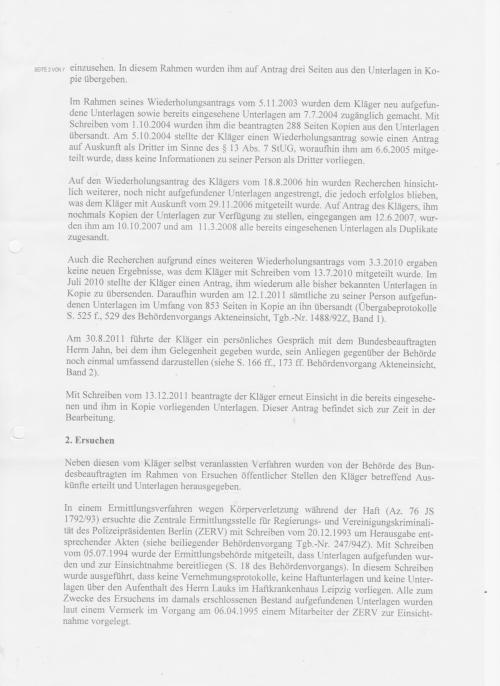 Klageerwiderung - Klageabweisungsantrag des BStU vom 16.10.2014