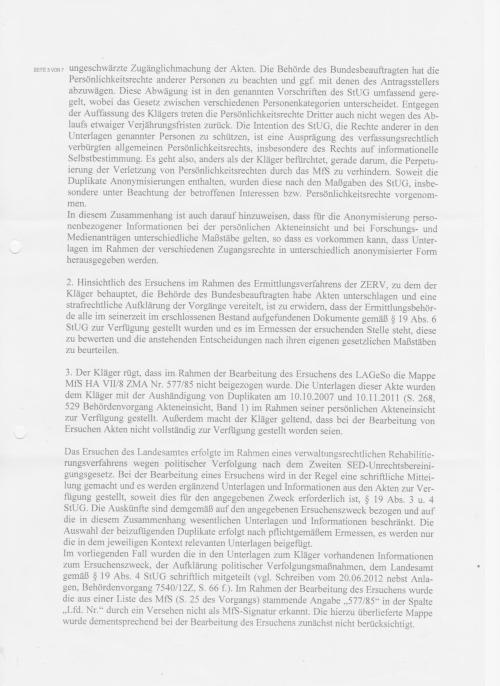 Klageerwiderung - Klageabweisungsantrag des BStU von Roland Jahn vom 16.10.2014
