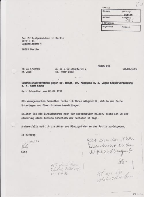 Lutz wendet sich noch mal am 23.03,1995 an Polizeipräsidenten ZERV 214