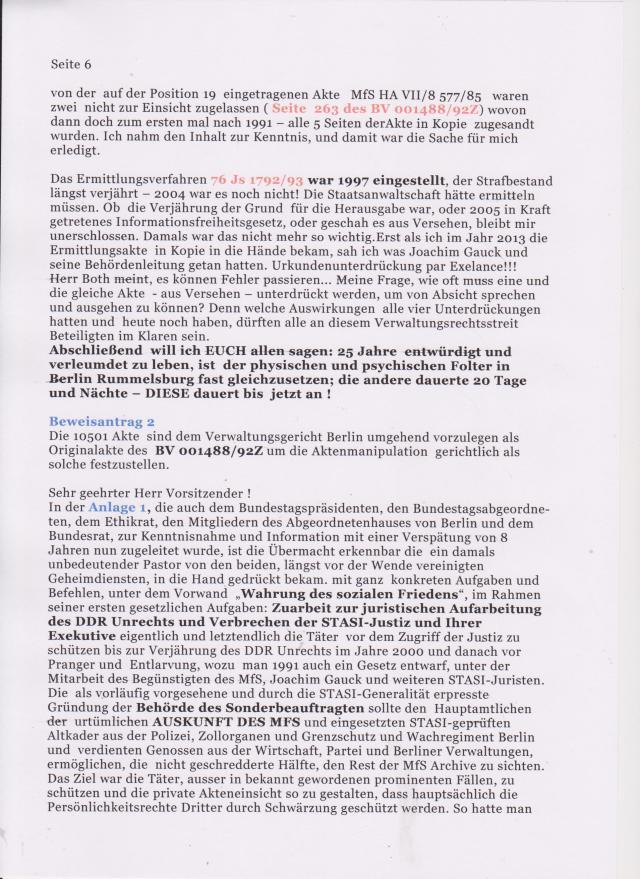 Beweisantrag 2: Die 10501 Seiten der Akte sind dem Verwaltungsgericht Berlin umgehend vorzulegen als Originalakte des BV 001488/92Z um die Aktenmanipulation gerichtlich als solche festzustellen.