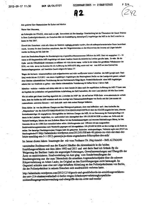 Beschwerde über die Strafvereitelung im Amt des Sonderbeauftragten der Bundesregierung für personenbezogenen Unterlagen des MfS im Falle des Folteropfers Adam Lauks und schwere Körperverletzung in Berlin - Rummwelsburg, HKH Leipzig Meusdorf und Spezielle Strafvollzugsabteilung Waldheim - vwereitelte Zuarbeit zur juristischen Aufarbeitung der mittleren und schweren Verbrechen der STASI...