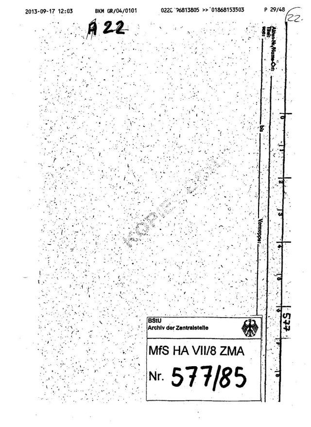 VG 1K 237.14  Anlage 22 Unterdrückte Aktenmappe  MfS Nr.577-85 001