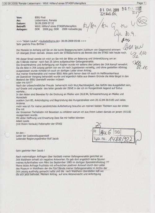 Ich schrieb an die Nachfolgerin vom Joachim Gauck... bat sie um konkrete Hilfe...